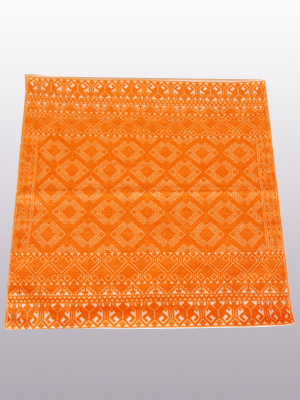 MEXICAN TEXTILES / Handwoven pillow cover - Diamonds in Bright Orange